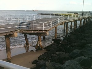 Collapsed section of Atlantic City Boardwalk
