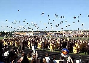 Absegami High school graduation cap toss