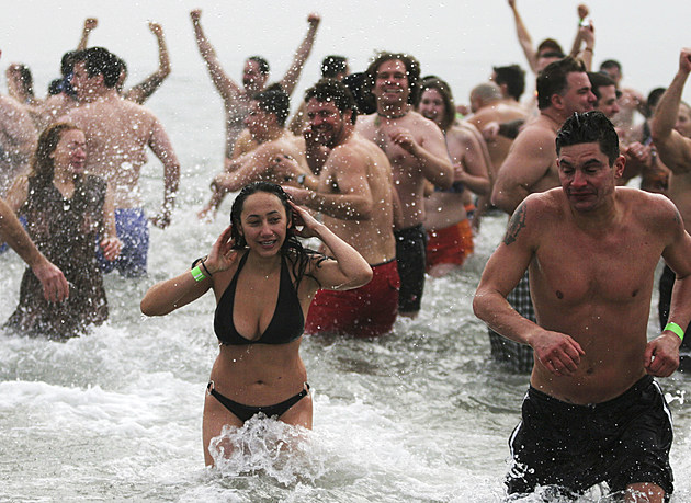 Polar Bear Club Takes Cold Water Plunge On New Years