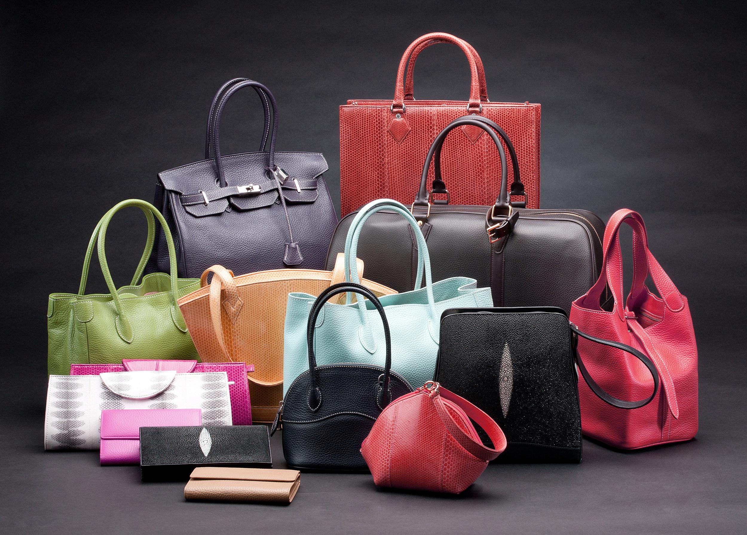 Set of beautiful leather handbags
